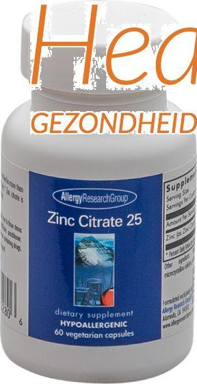 argroup zinc citraat 25 mg 60 vegacps